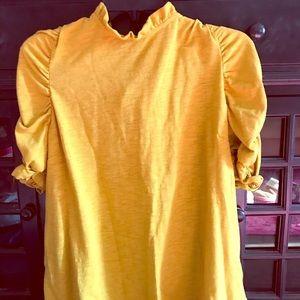 Mustard, ruffle sleeve anthropology shirt.